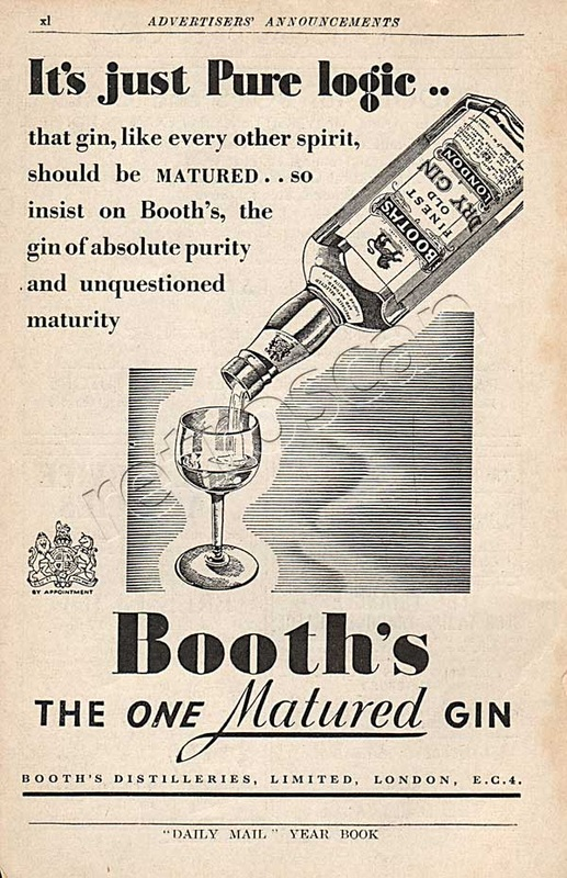 1937 Booth's Gin - unframed vintage ad