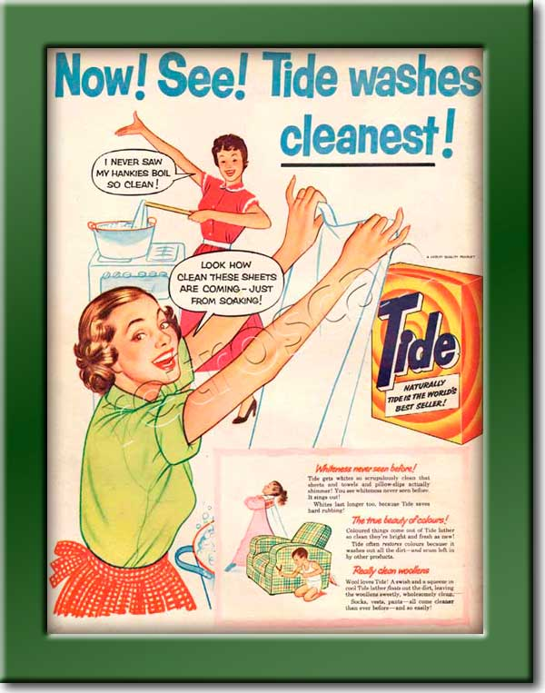 1954 vintage Tide Washing Powder ad