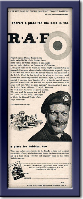 1954 Royal Air Force Recruitment - framed preview vintage ad