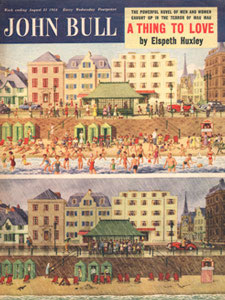 August 1954 John Bull Vintage Magazine cover Seaside Beach Resort sun and rain