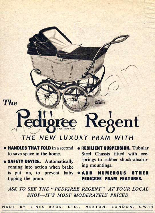 1948 Pedigree Regent Prams - unframed