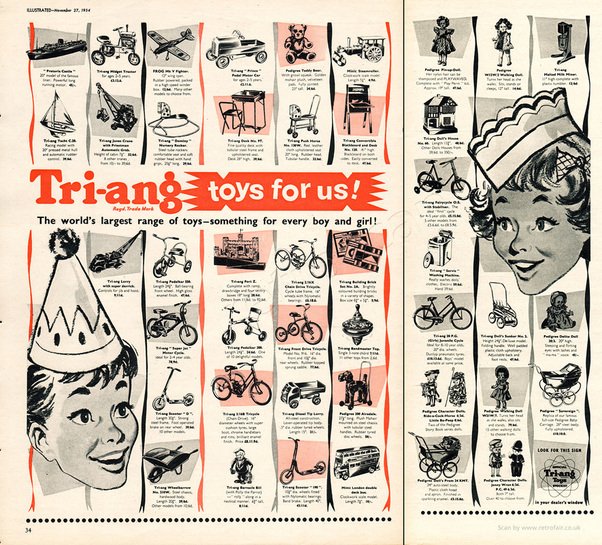 1954 Tri-ang Toys - unframed vintage ad