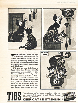 1951 Tibs Cat Vitamins  - unframed vintage ad