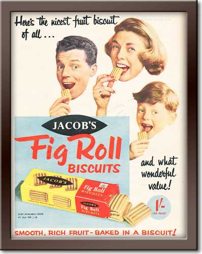1958 Jacob's Fig Roll Biscuits - framed preview retro