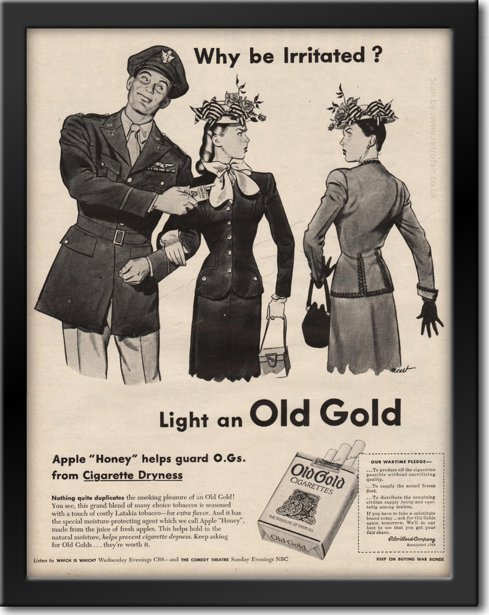 1945 Old Gold Cigarettes - framed preview retro