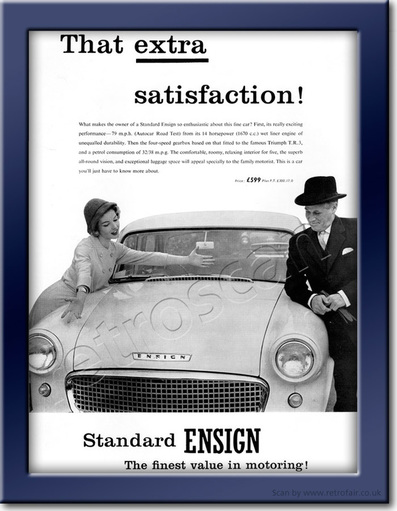 vintage 1958 Standard Ensign advert