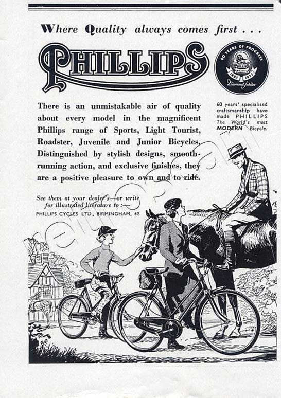 1952 Phillips Bicycle vintage advert