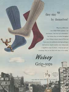 1955 Wolsey Grip-Top Socks Vintage Ad