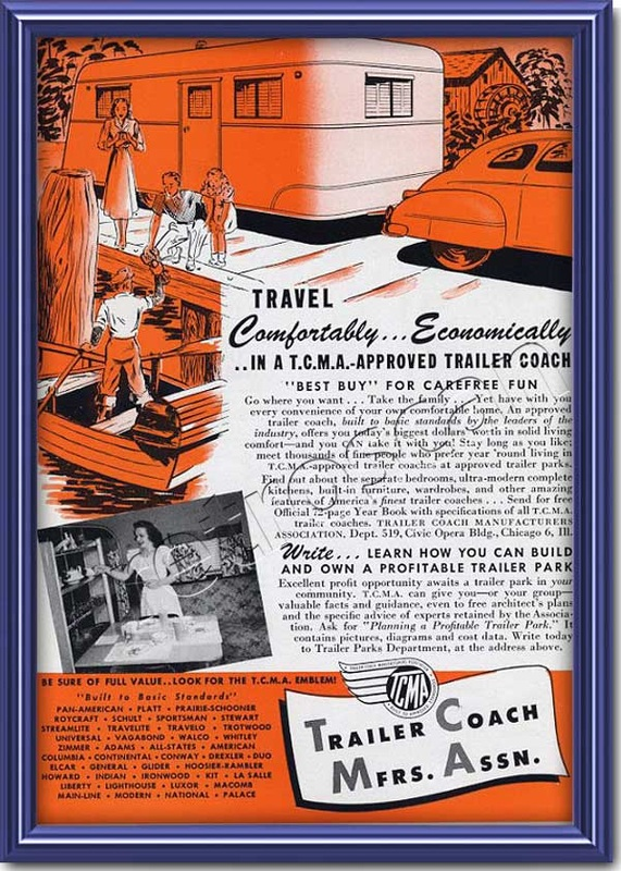 1948 vintage  Trailer Coach Association advert