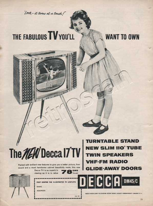 1959 Decca Televisions - unframed vintage ad