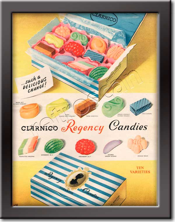 1953 Clarnico Regency Candies - framed preview
