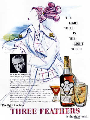 1949 Three Feathers Whisky  - vintage ad