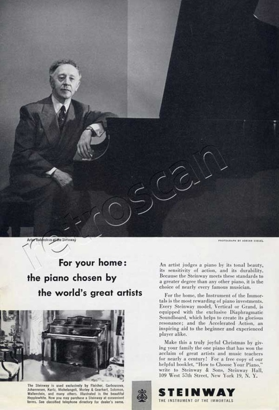 1951 Steinways Pianos Artur Rubinstein