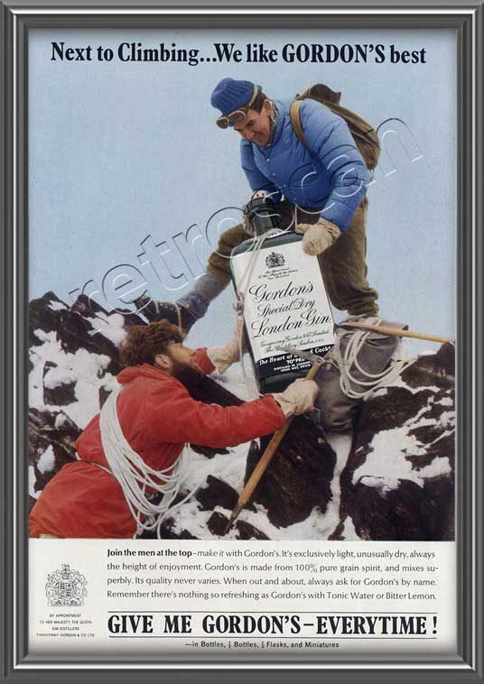 1964 Gordon's Gin Vintage Ad - Two Climbers on a mountain peak with giant Gin bottle