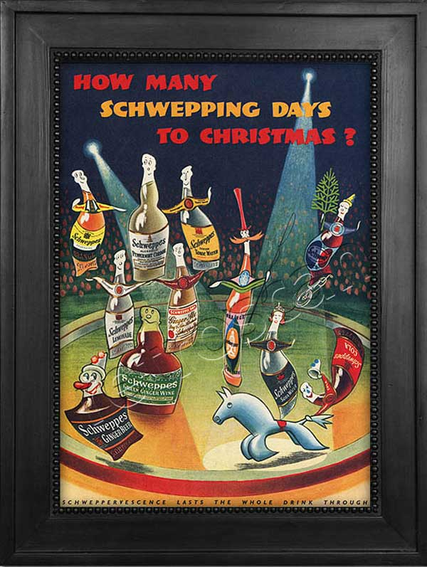 1952 Schweppes Christmas Ad - Framed Preview