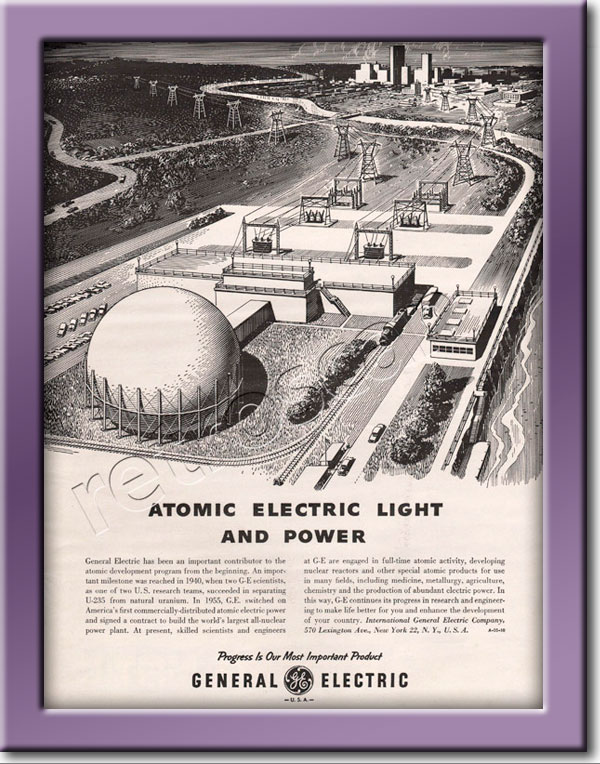 1955 retro General Electric Atomic Power  advert