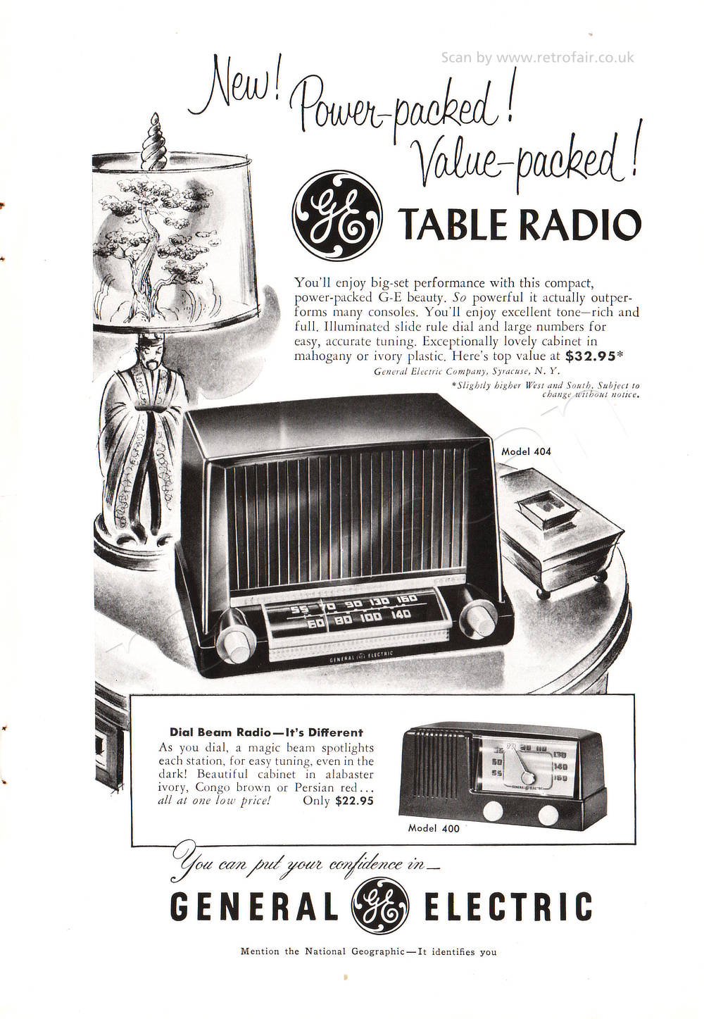 1951 General Electric Table Radio - unframed vintage ad