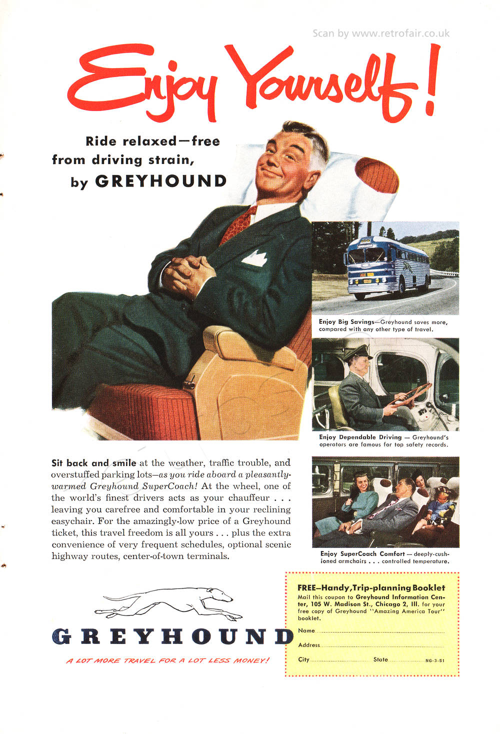 vintage 1951 Greyhound Bus ad