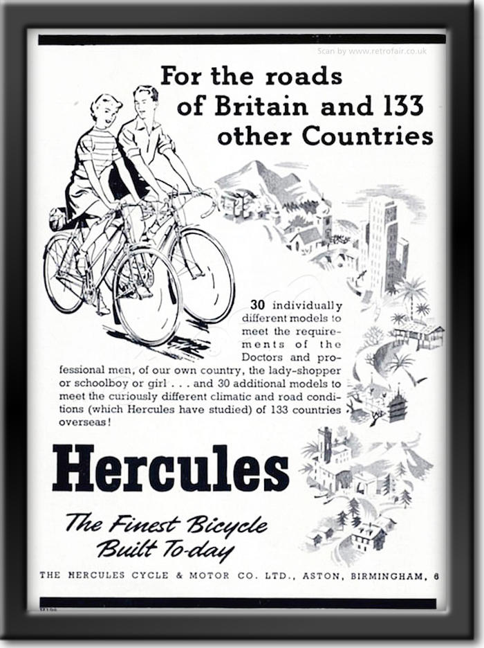 1952 retro Hercules Bicycles advert