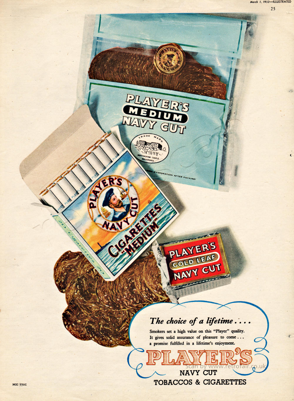 1952 Players Navy Cut Cigarettes & Tobacco Vintage Ad