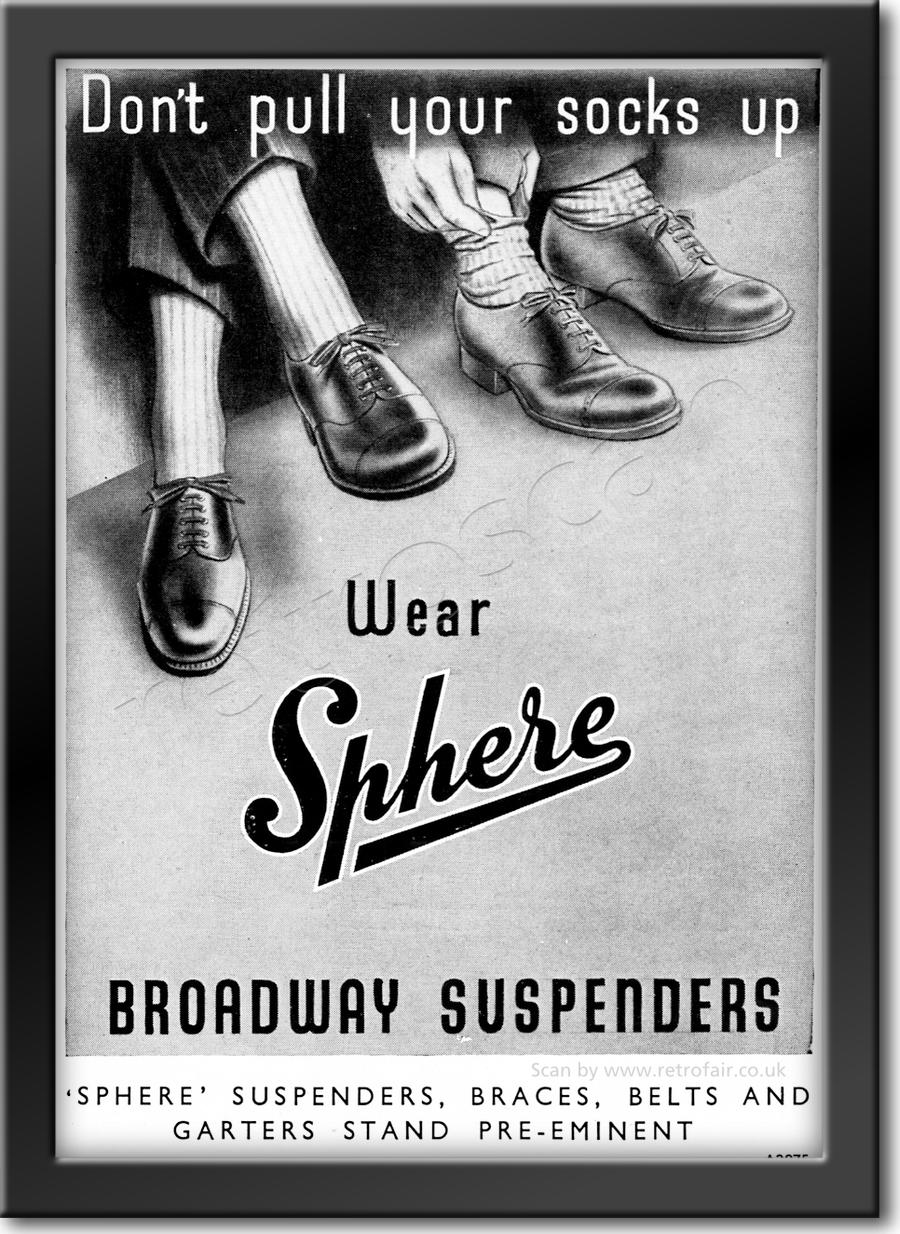 1952 Sphere Broadway Suspenders - framed preview vintage ad