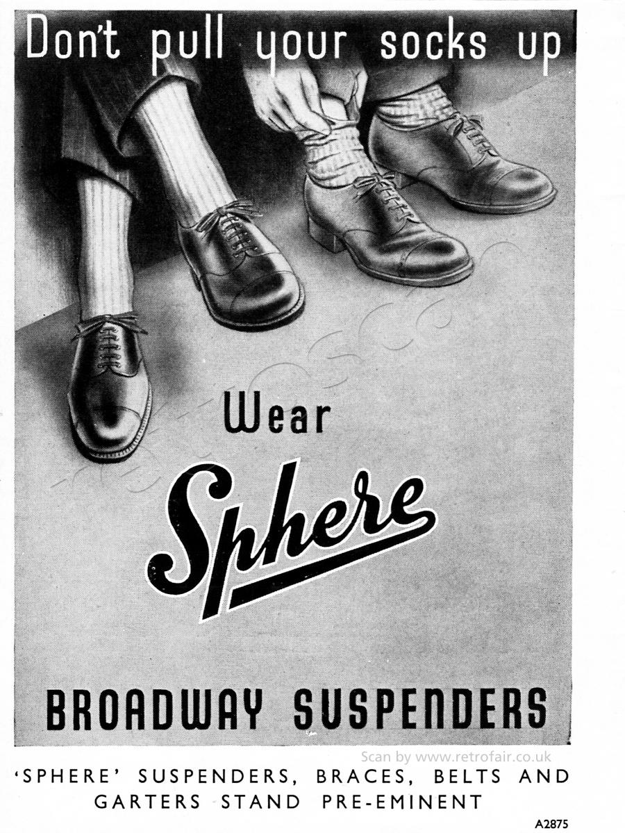 1952 Sphere Broadway Suspenders - unframed vintage ad