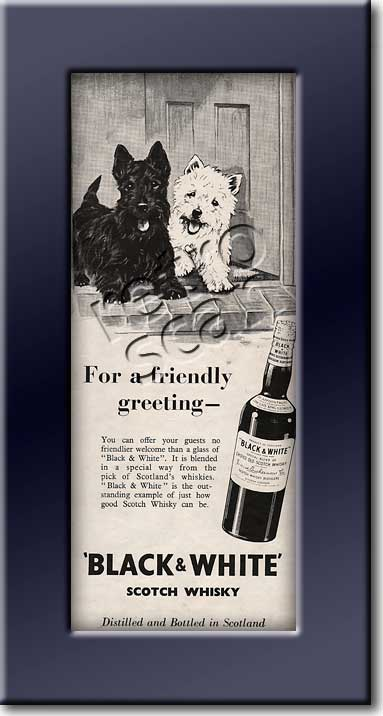 1954 Vintage Black & White Scotch Whisky ad