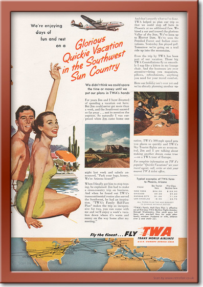 1953 vintage TWA Vacation advert