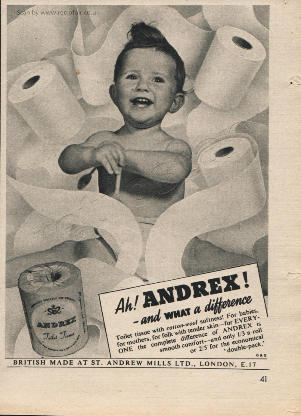 1953 Andrex  - framed preview vintage ad