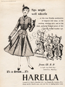 1952 Harella Fashion - unframed vintage ad