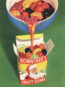 1954 Fruit Gums santa pack - vintage ad