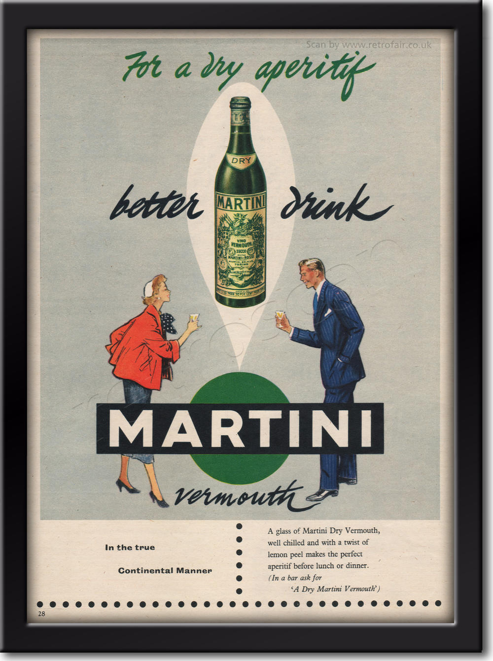 1954 vintage Martini Dry advert