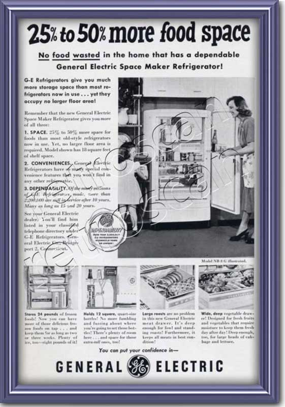 1950 vintage GEC Fridge Freezer  advert