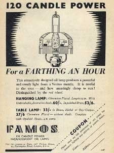 1936 Famos Oil Lamps - vintage ad