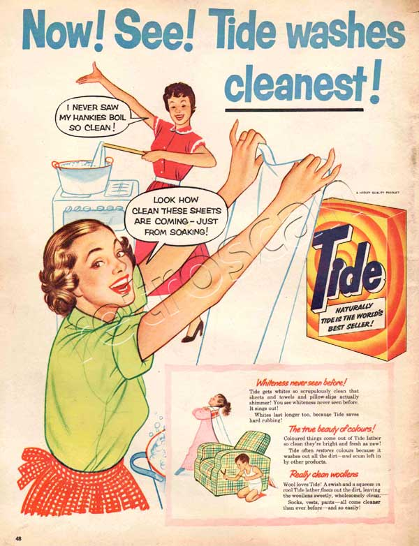 1954 Tide Washing Powder vintage ad