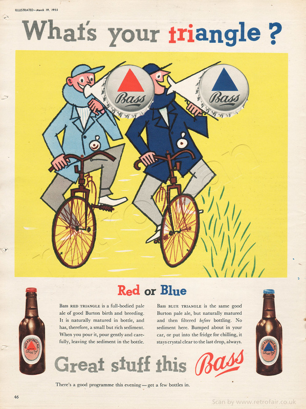 1955 Bass Triangle Beer - unframed vintage ad