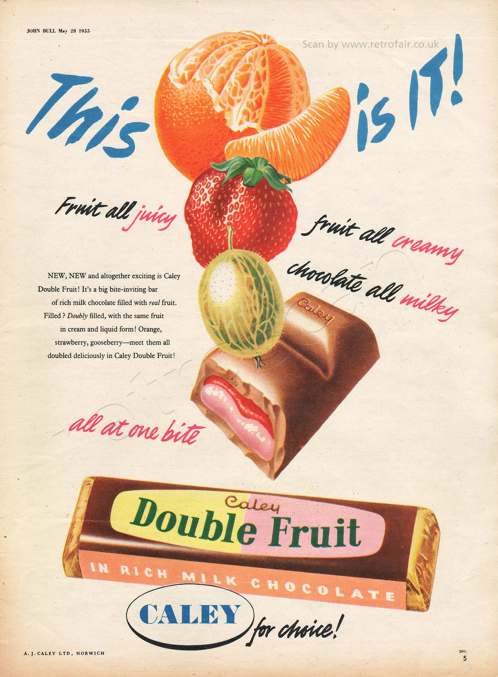 1955 Caley Double Fruit Bar - unframed vintage ad