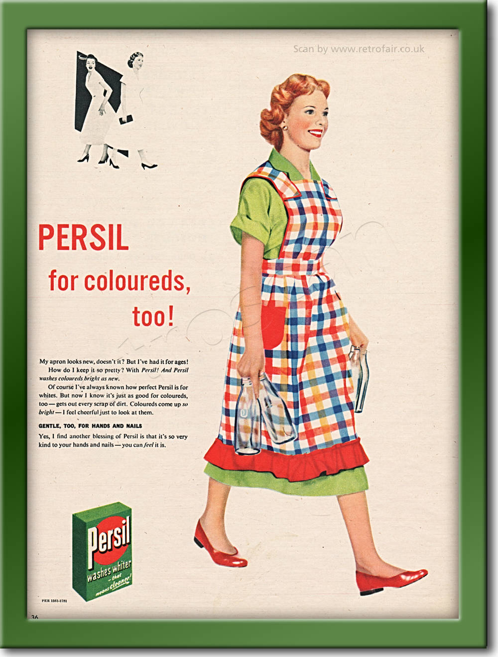 vintage 1955 Persil Washing Powder advert