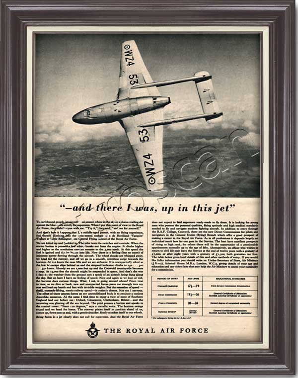 vintage 1954 Royal Air Force Recruitment de Havilland 'Vampire'