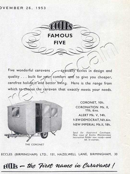 53 vintage Eccles Caravans advert