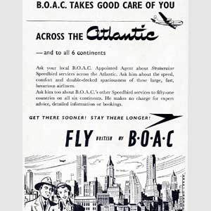 1950 BOAC Atlantic Crossings  - Vintage Ad