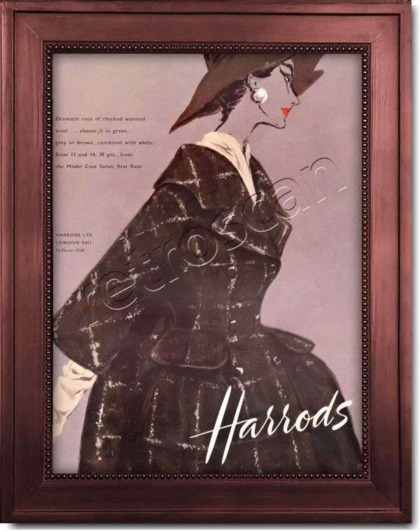 1958 vintage Harrods Fashion ad
