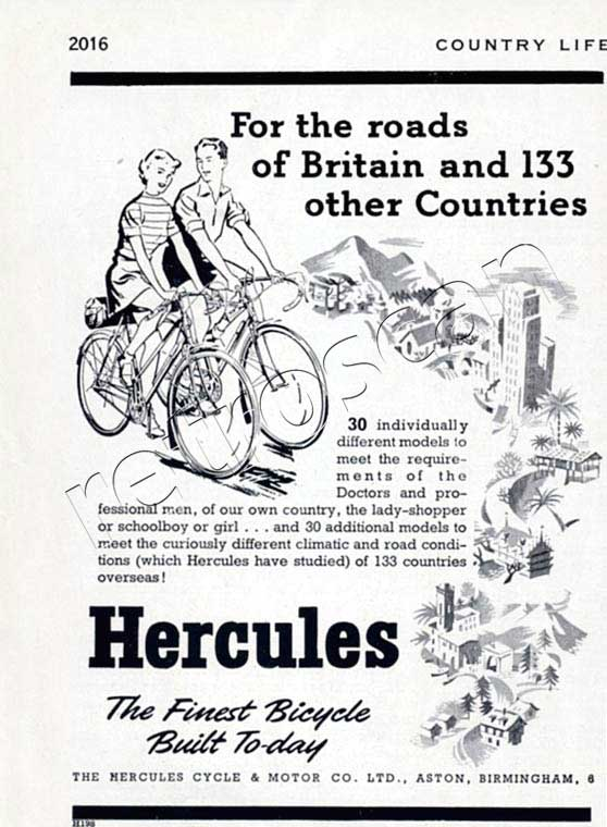 1952 Hercules Bicycles vintage advert
