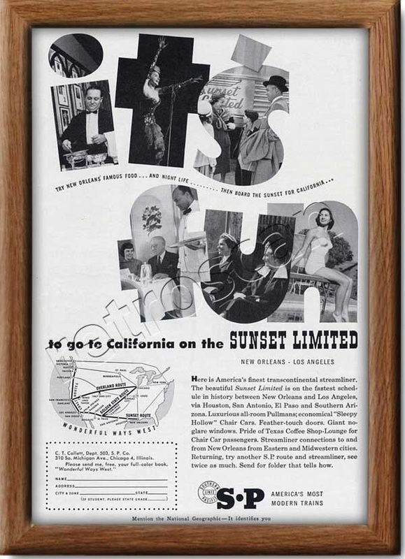 1953 vintage Southern Pacific  railroad advert