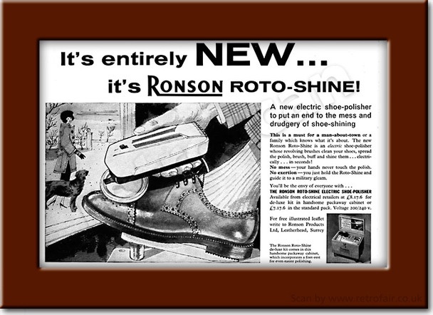 1960 Ronson Roto-Shine Shoe Polisher - framed preview vintage ad