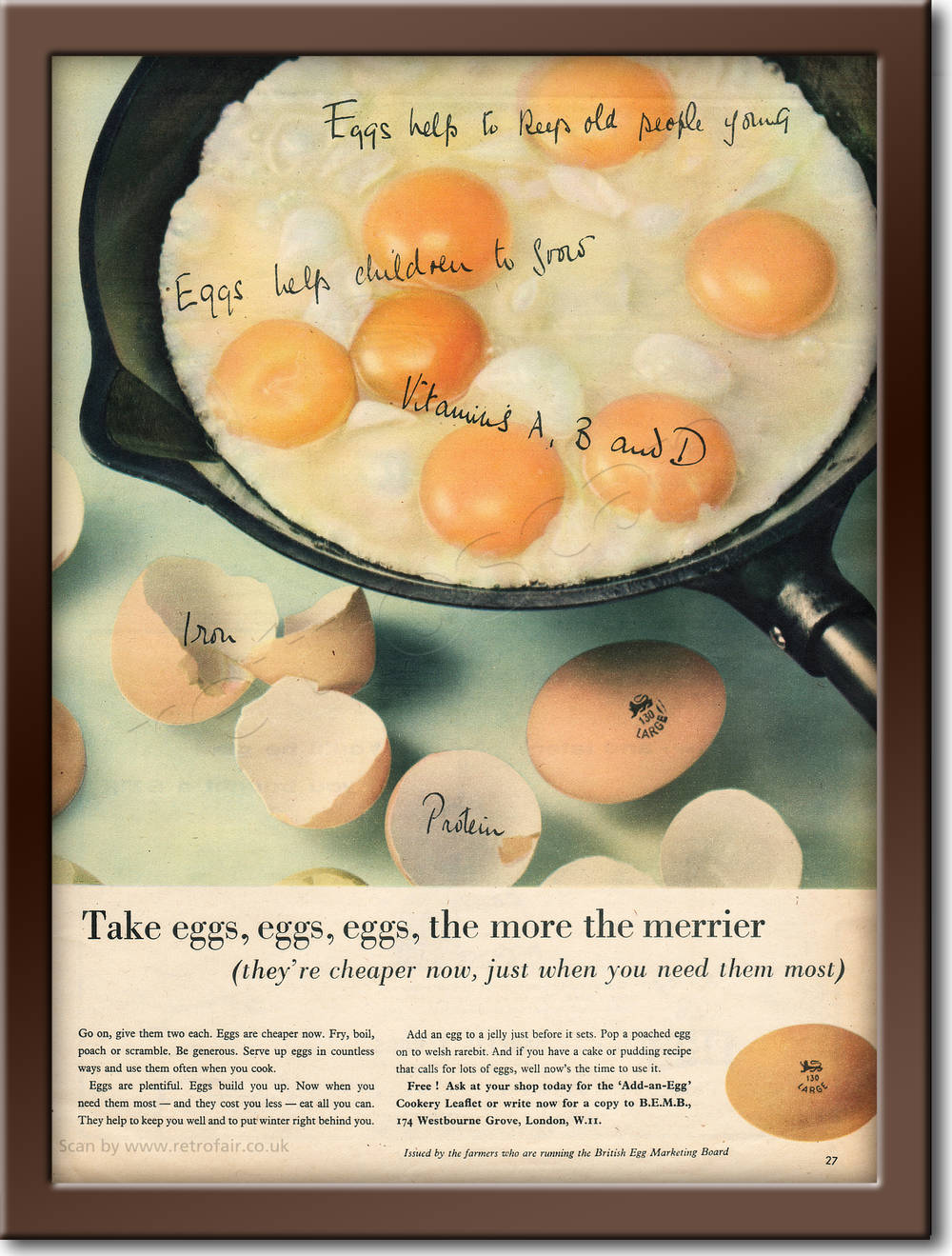 1958 Egg Marketing Board - framed preview retro