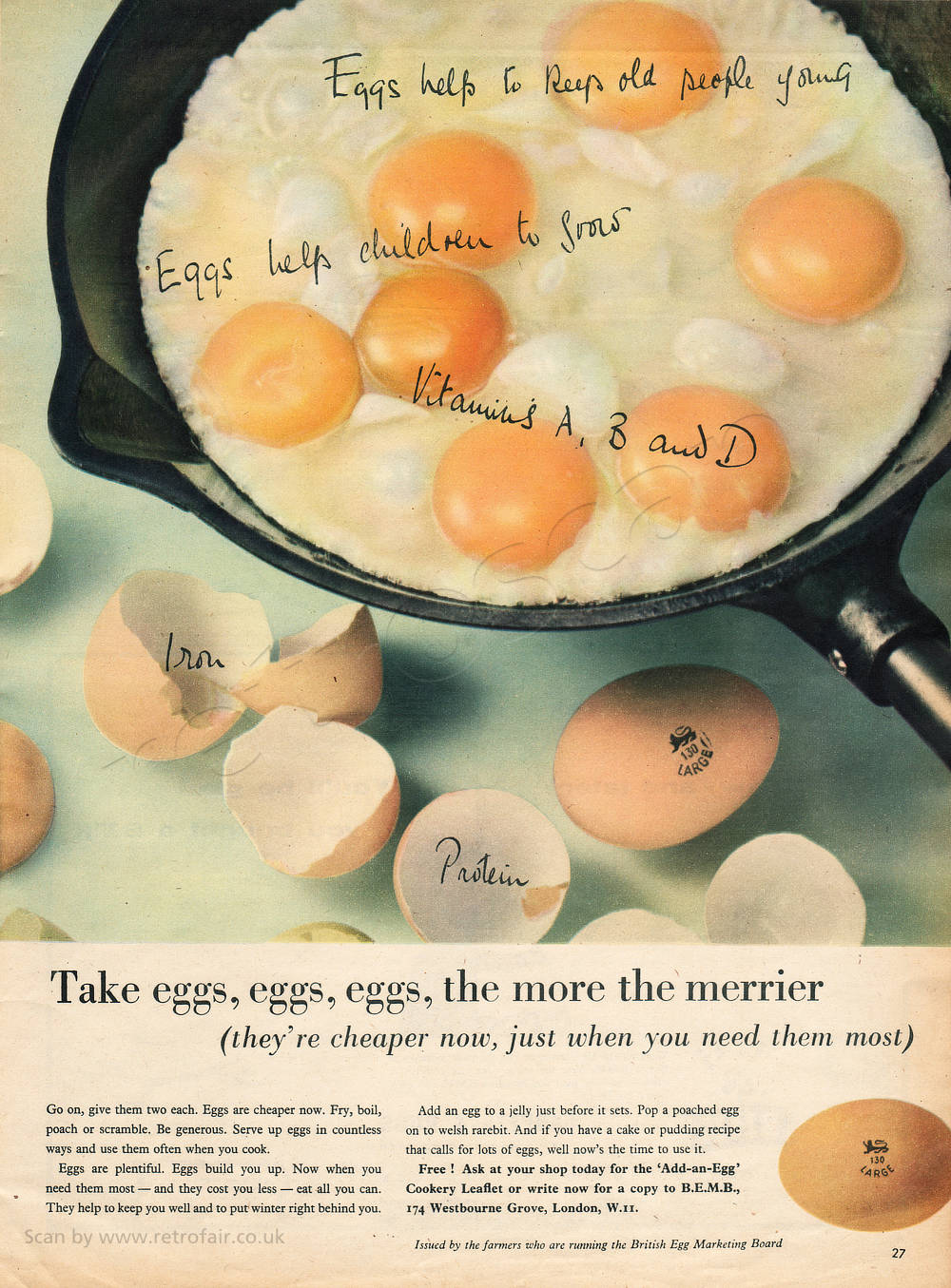 1958 Egg Marketing Board - unframed vintage ad