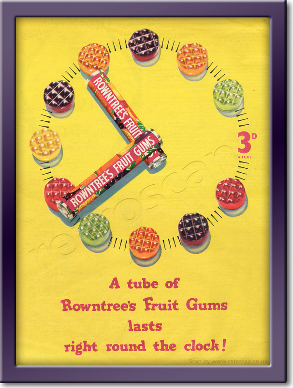 1958 Rowntree's Fruit Gums - framed preview retro