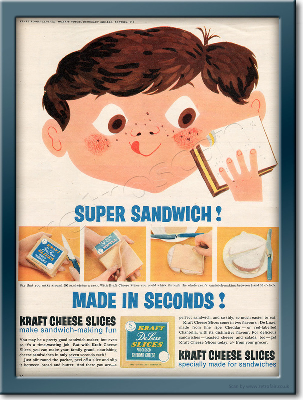 1958 Kraft Cheese Slices - framed preview retro