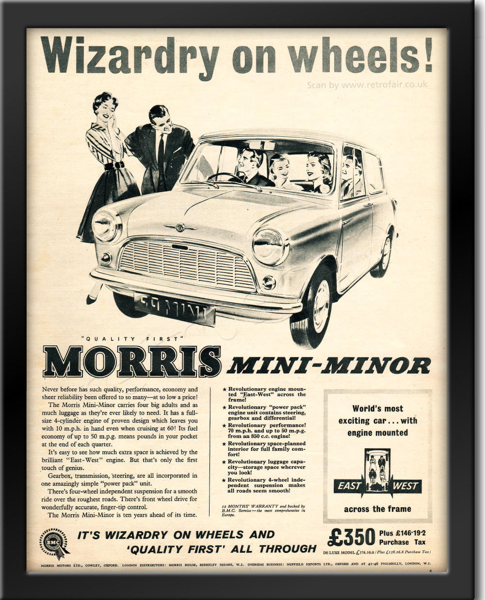 1959 Morris Mini - Minor - framed preview vintage ad